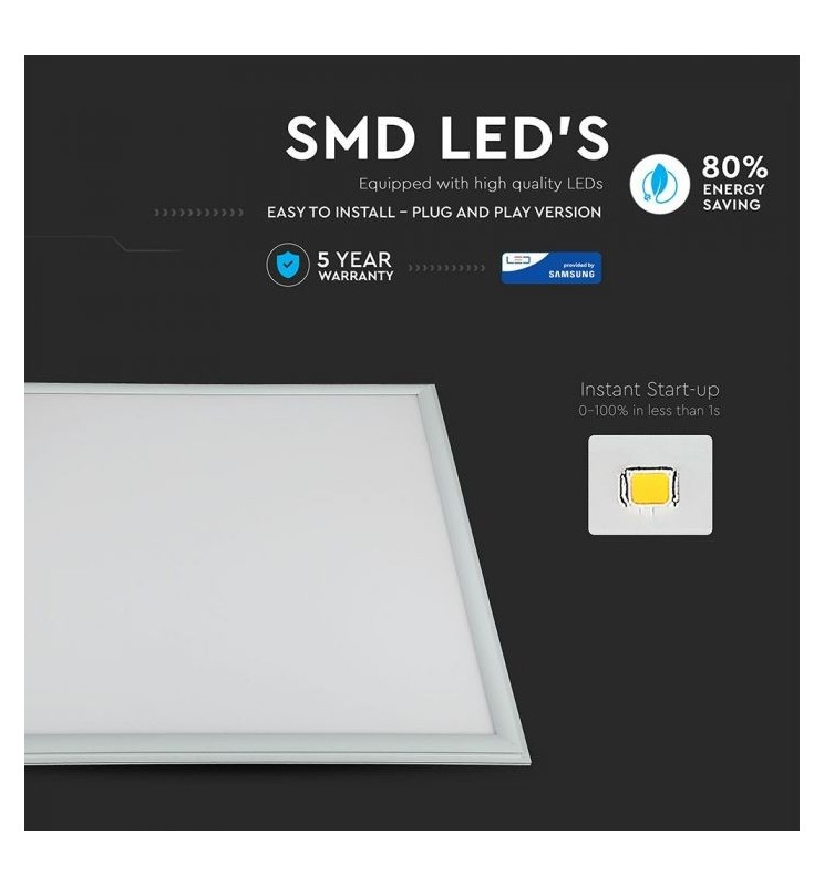 6 PANNELLI LED CHIP SAMSUNG 60X60 45W SMD CON DRIVER VT-645 SKU: 632/ 633/ 634