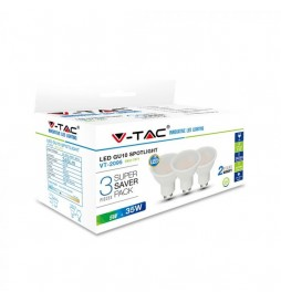 SUPER SAVER PACK CONFEZIONE 3 FARETTI LED GU10 5W SPOTLIGHT 110° - VT-2095 - SKU 7269 / 7270 / 7271