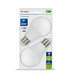 LAMPADINA LED E27 9W BULB A60 2PCS BLISTER PACK - VT-2139  - SKU 7294 / 7295 / 7296