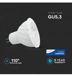 LAMPADINA LED GU5.3 (MR16) 6,5W FARETTO SPOTLIGHT CHIP SAMSUNG VT-257 SKU: 204/ 205/ 206